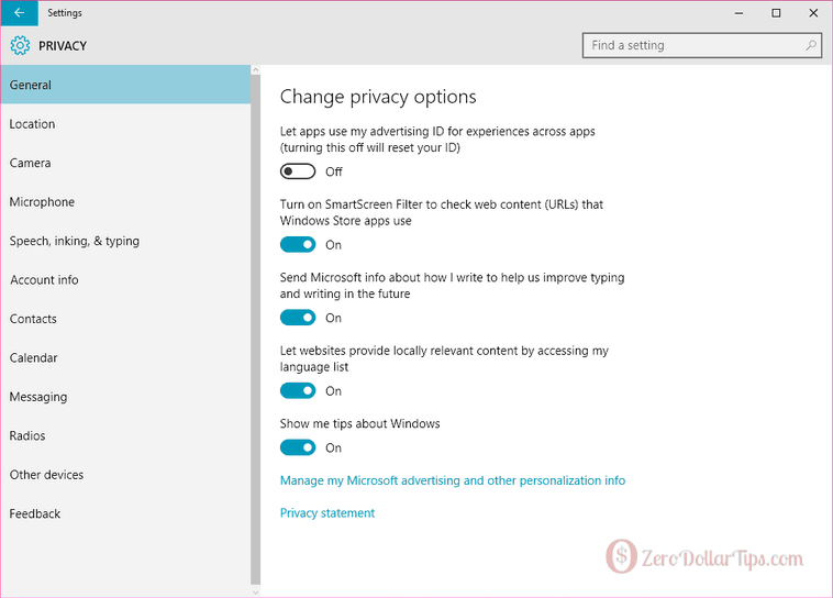 change privacy settings in windows 10