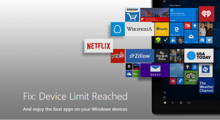 How to fix device limit reached in windows 10