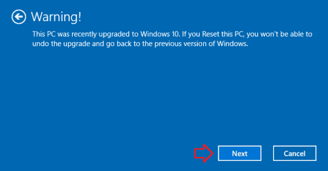 reset windows 10 pc