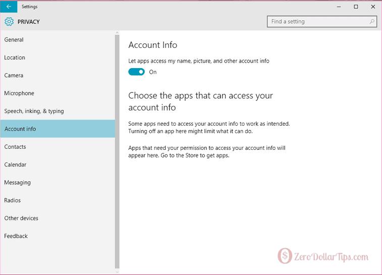 windows 10 account info settings