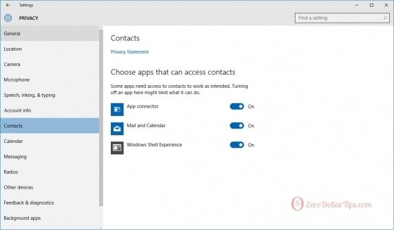 windows 10 contacts settings