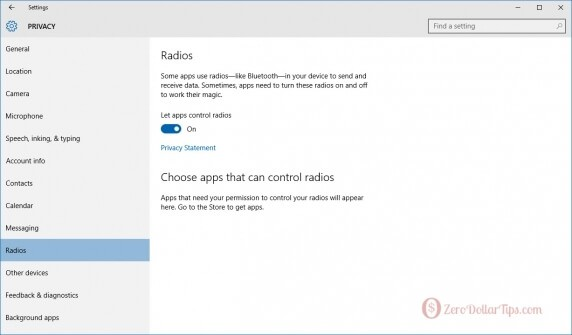windows 10 radios settings