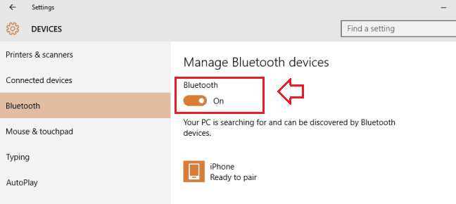 connect to bluetooth device in windows 10