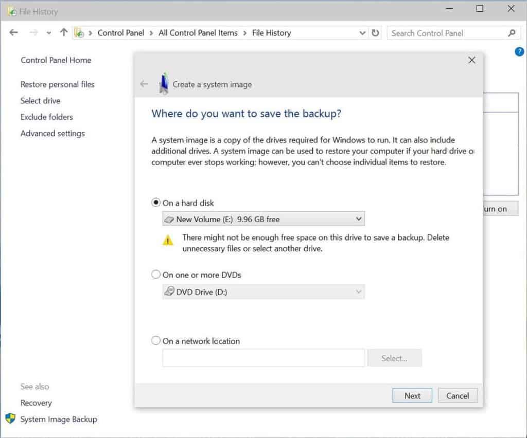 how to create an image backup windows 7