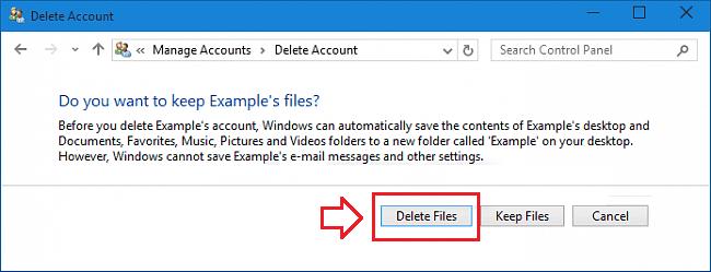 delete user account