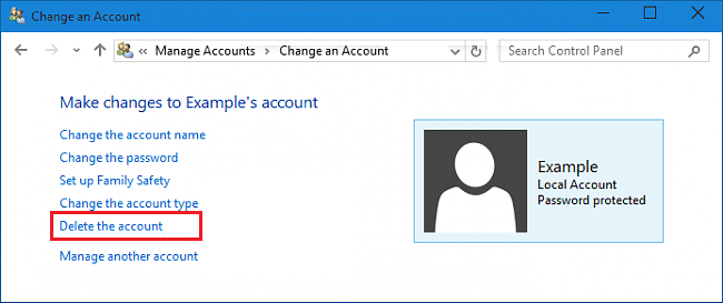 deleting account