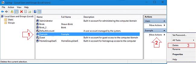 how to delete user accounts