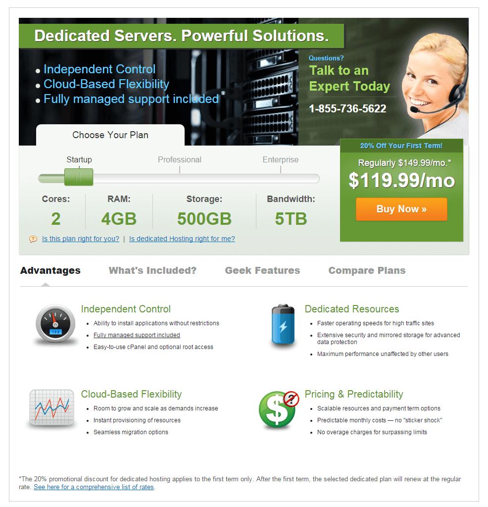 ipage dedicated hosting plans