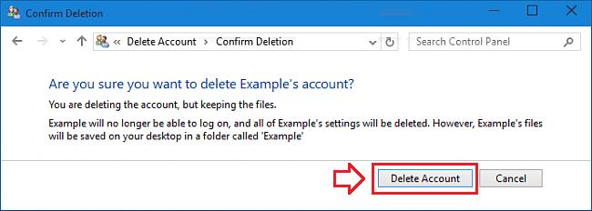 remove a user account