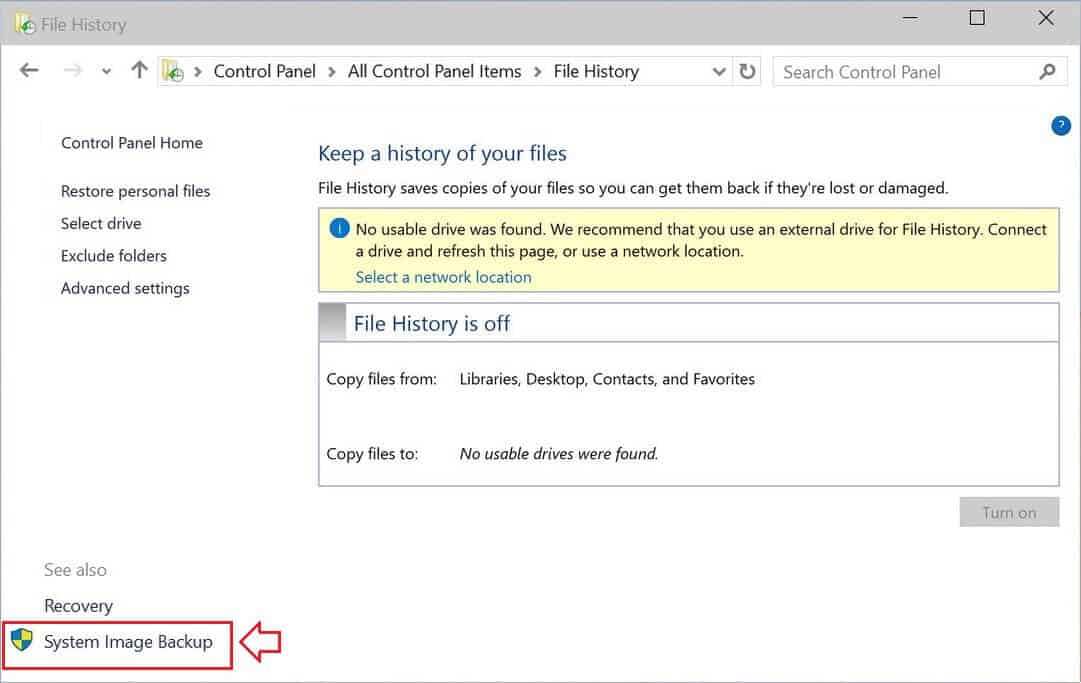 How to create a windows 10 system image backup