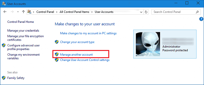 user accounts in windows 10