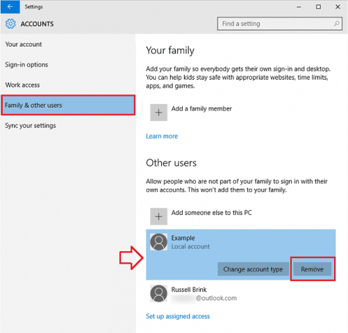 windows 10 user accounts