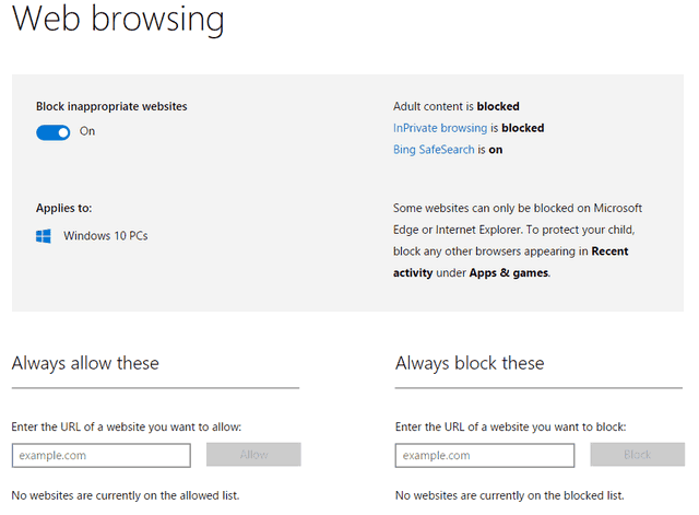windows 10 web browsing