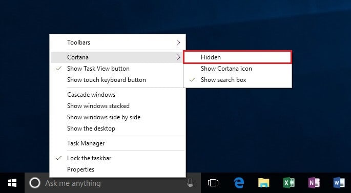 add or remove windows 10 search box from the taskbar
