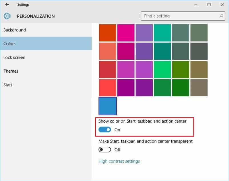 change windows 10 taskbar color
