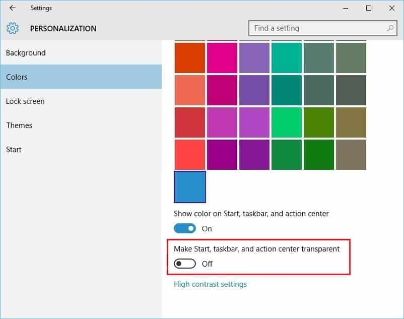 enable or disable windows 10 taskbar transparency