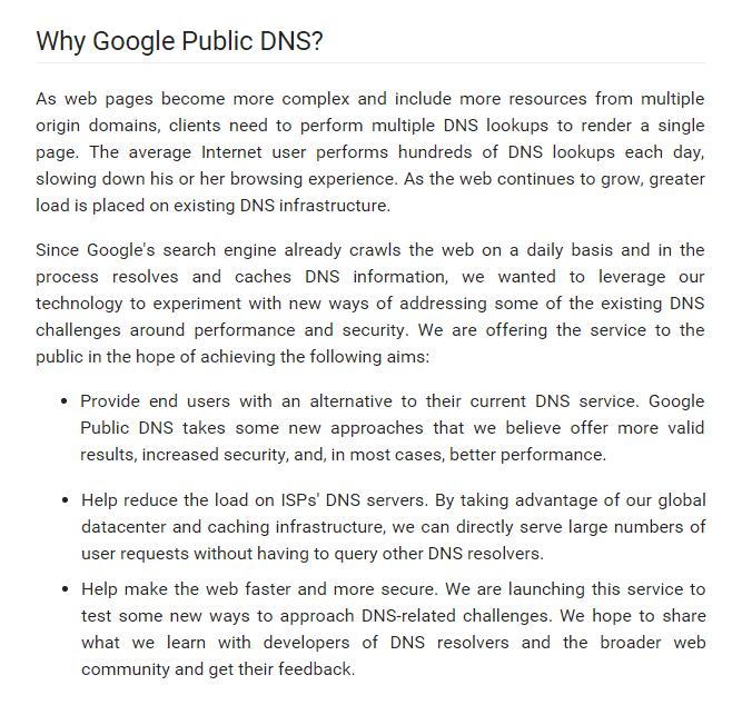 google public dns server