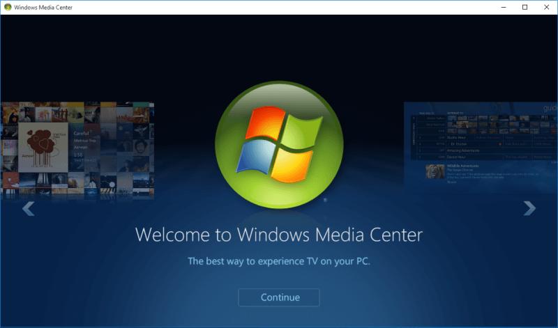 install windows media center windows 10