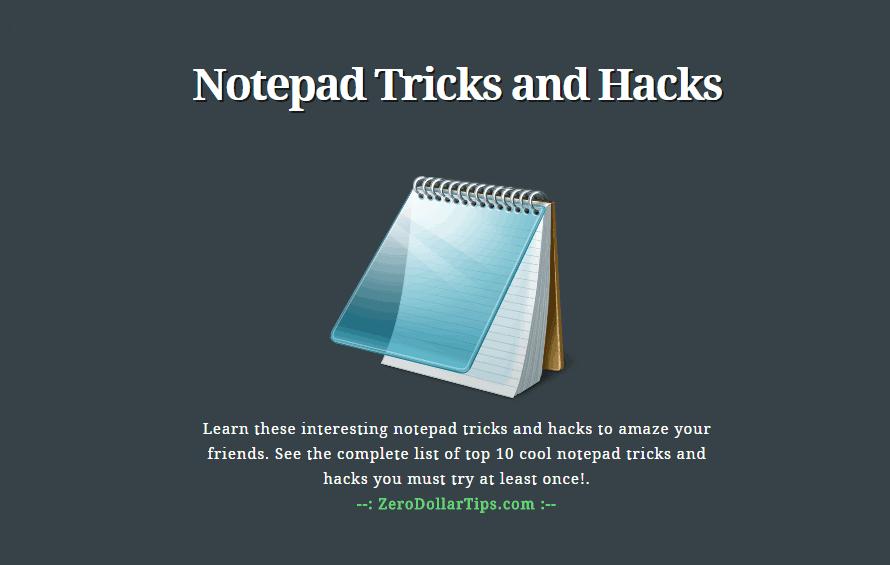 notepad tricks and hacks