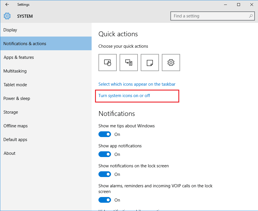 turn system icons on off windows 10