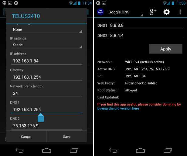 change DNS server on android