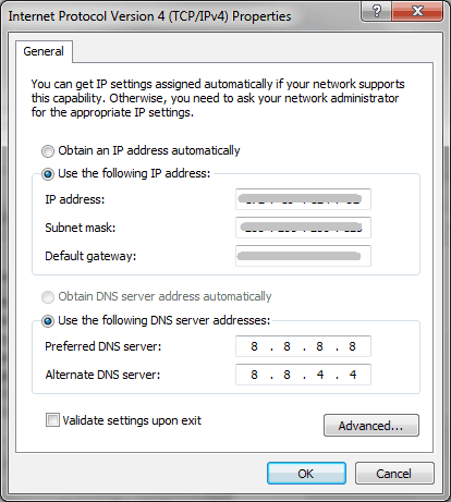 change DNS server on windows