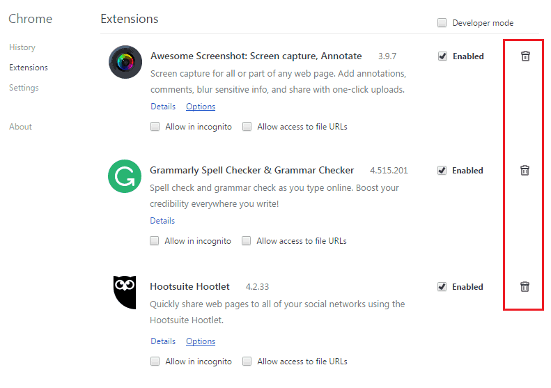 remove extensions in google chrome