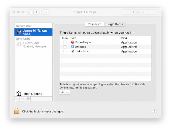 remove startup items in mac OS X