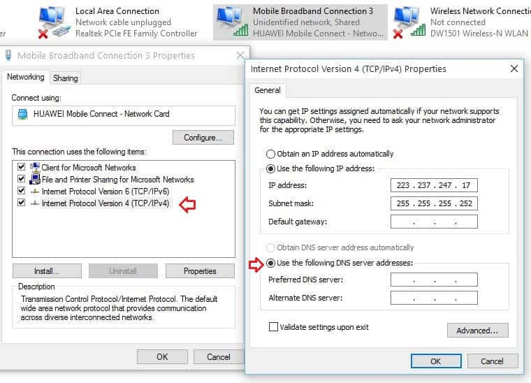 Change DNS Server Adress in Windows 10