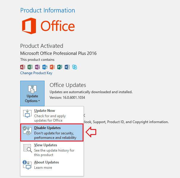 disable updates Office 2016