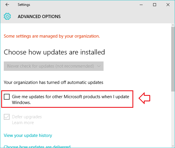 turn off automatic updates office 2016