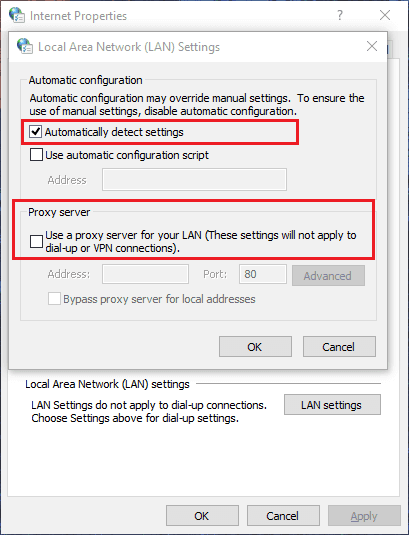 fix unable to connect to the proxy server