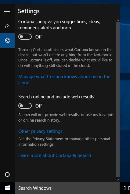 turn off hey cortana