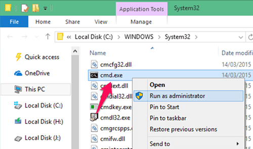 administrator command prompt windows 10 file explorer