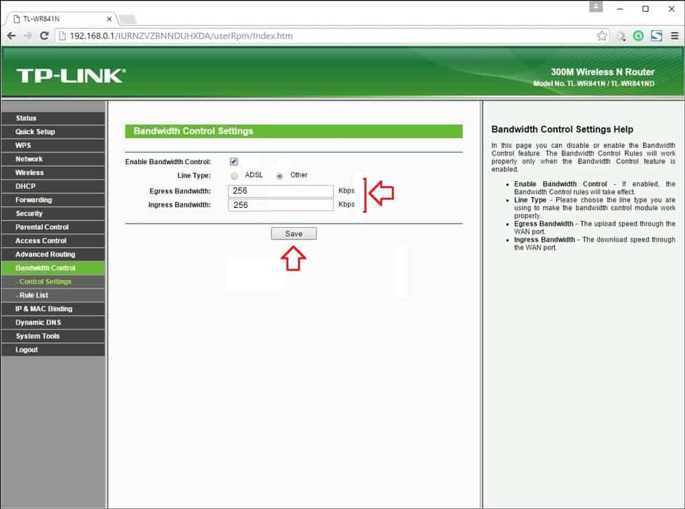 bandwidth control on TP-LINK wireless router