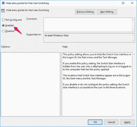 fast user switching in windows 10