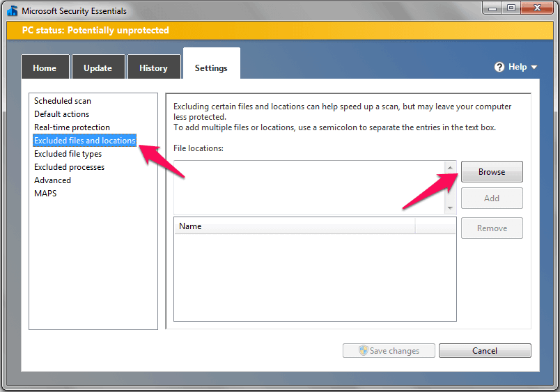 microsoft security essentials excluded files and locations