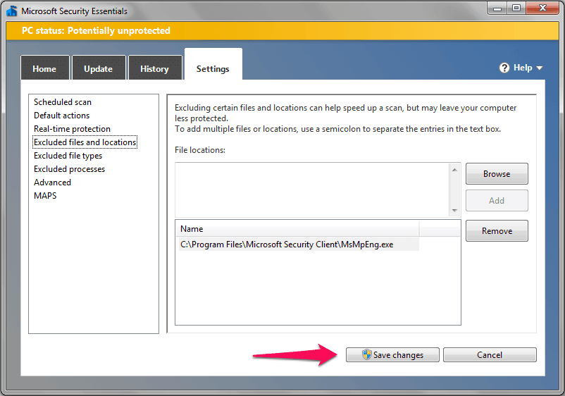 microsoft security essentials save changes