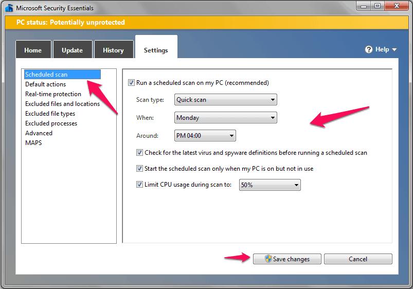 microsoft security essentials scheduled scan