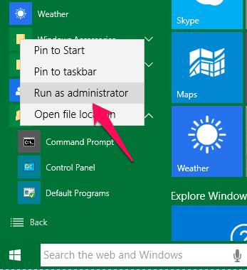 run as administrator windows 10