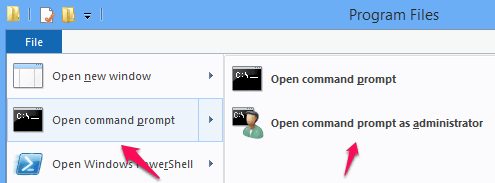 run command prompt as administrator from windows 8 file explorer