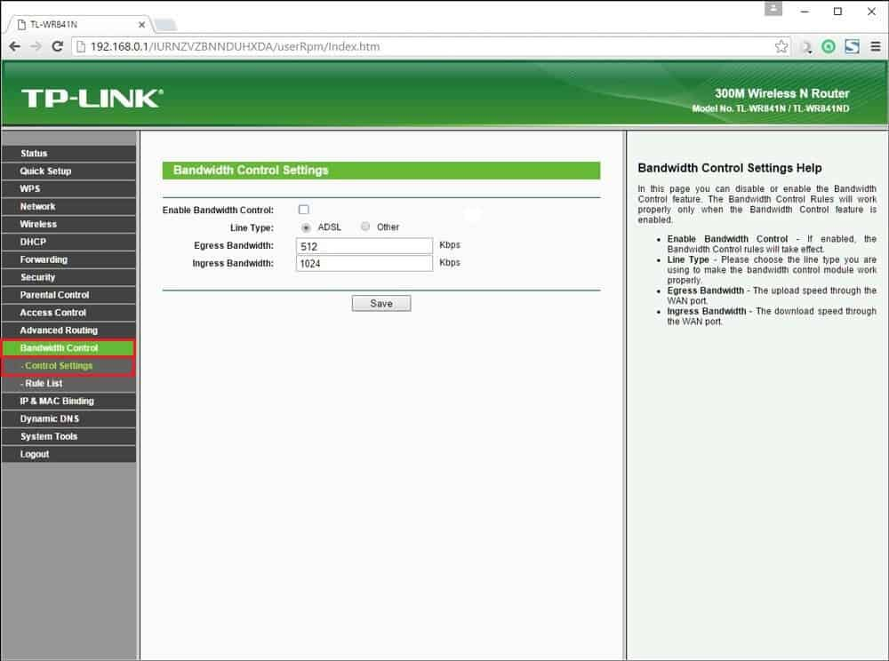 tp link router bandwidth control