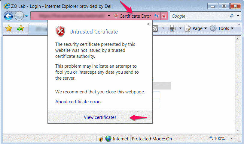 Fix There Is A Problem With This Websites Security Certificate