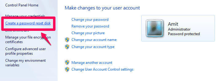 create a password reset disk windows 7