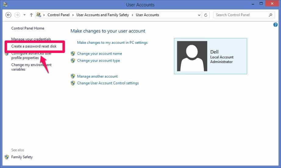 create a password reset disk windows 8