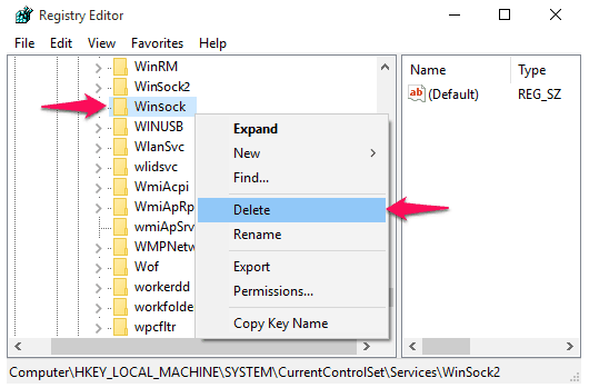fix windows sockets registry entries required for network connectivity are missing