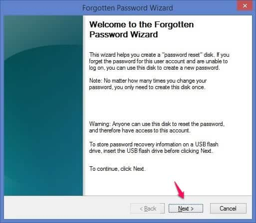 forgotten password wizard windows 8