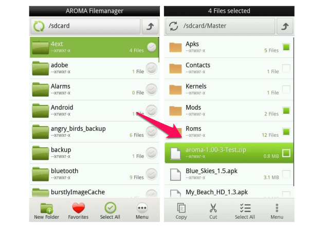 install Aroma File Manager