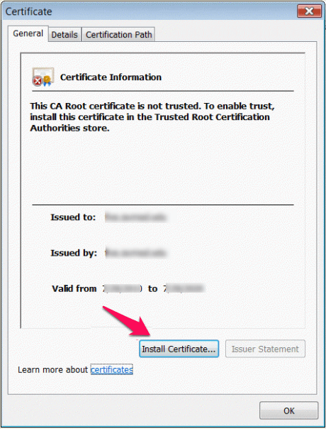 install certificate