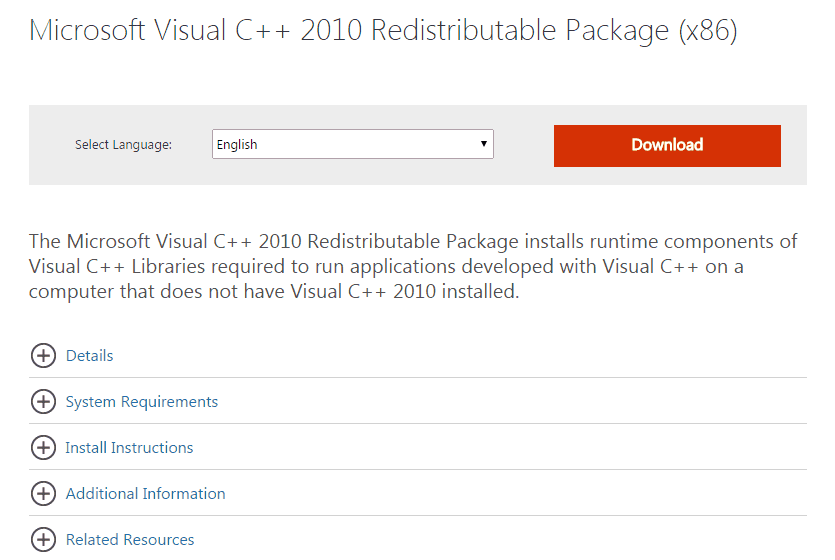 Microsoft Visual C++ 2010 Redistributable Package